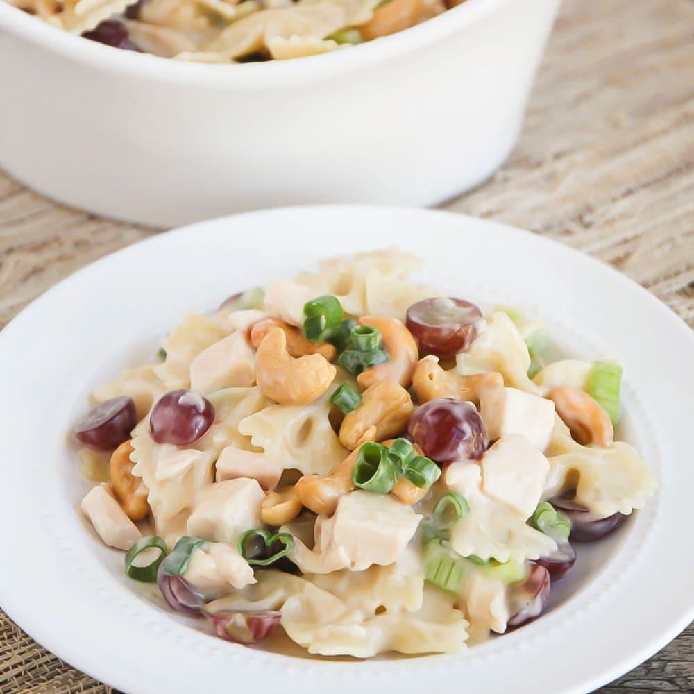 Cashew chicken salad on white plate