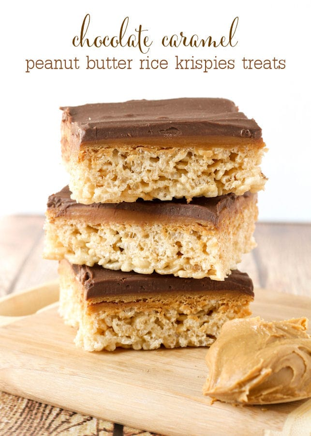 Delicious Chocolate Caramel Peanut Butter Rice Krispies Treats. Layers of rice krispies, caramel, peanut butter, & chocolate
