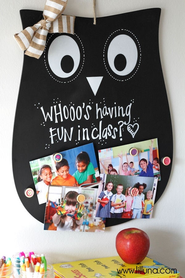 Super Cute and Inexpensive Owl Teacher Gift - a magnet and chalkboard sign! { lilluna.com } All you need is a few supplies - silhouette chalkboard, magnets, ribbon, buttons, and chalk.