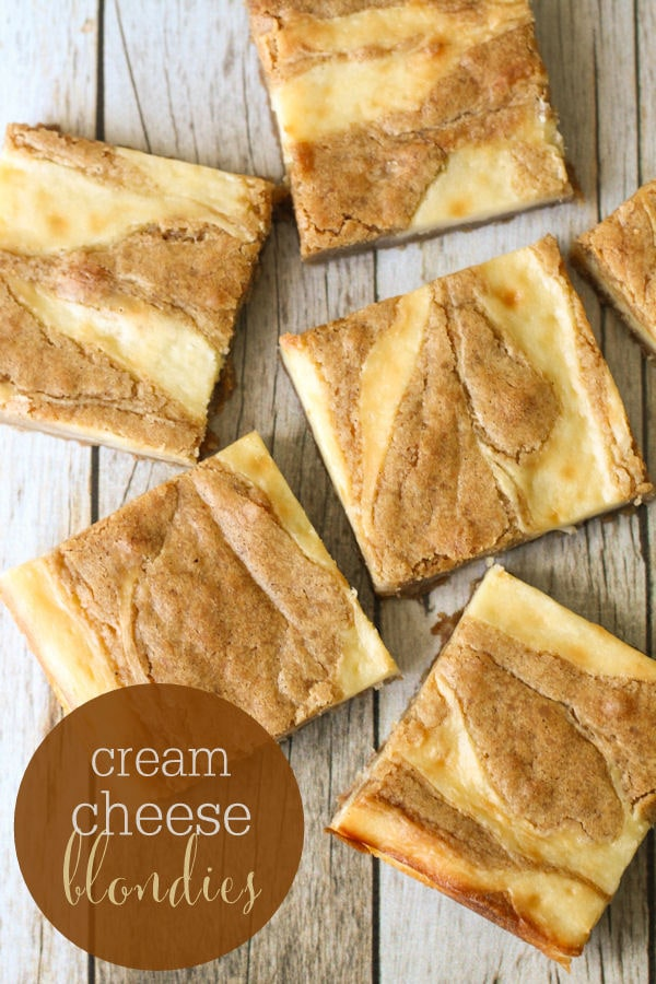 Delicious Cream Cheese Swirled Blondies recipe!! So soft and always a hit!