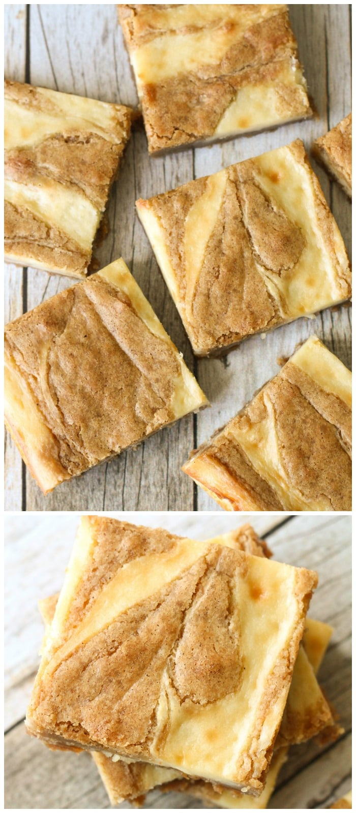 Delicious Cream Cheese Swirled Blondies!! A yummy recipe of a blondie brownie with a swirl of cream cheese!