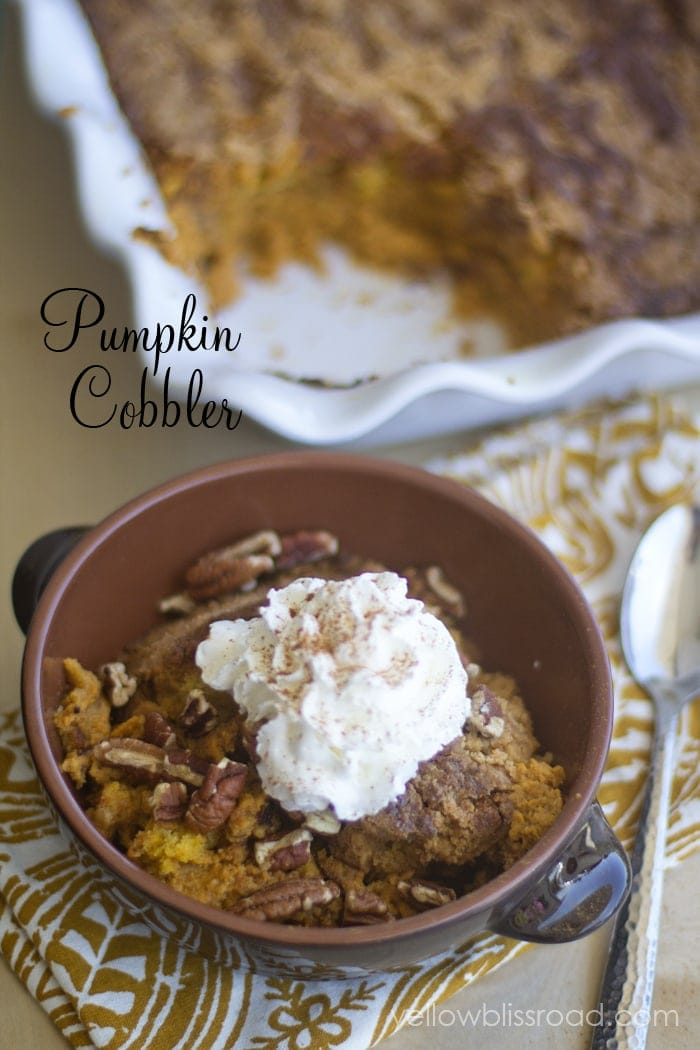 Pumpkin cobbler in bowl with whipped cream
