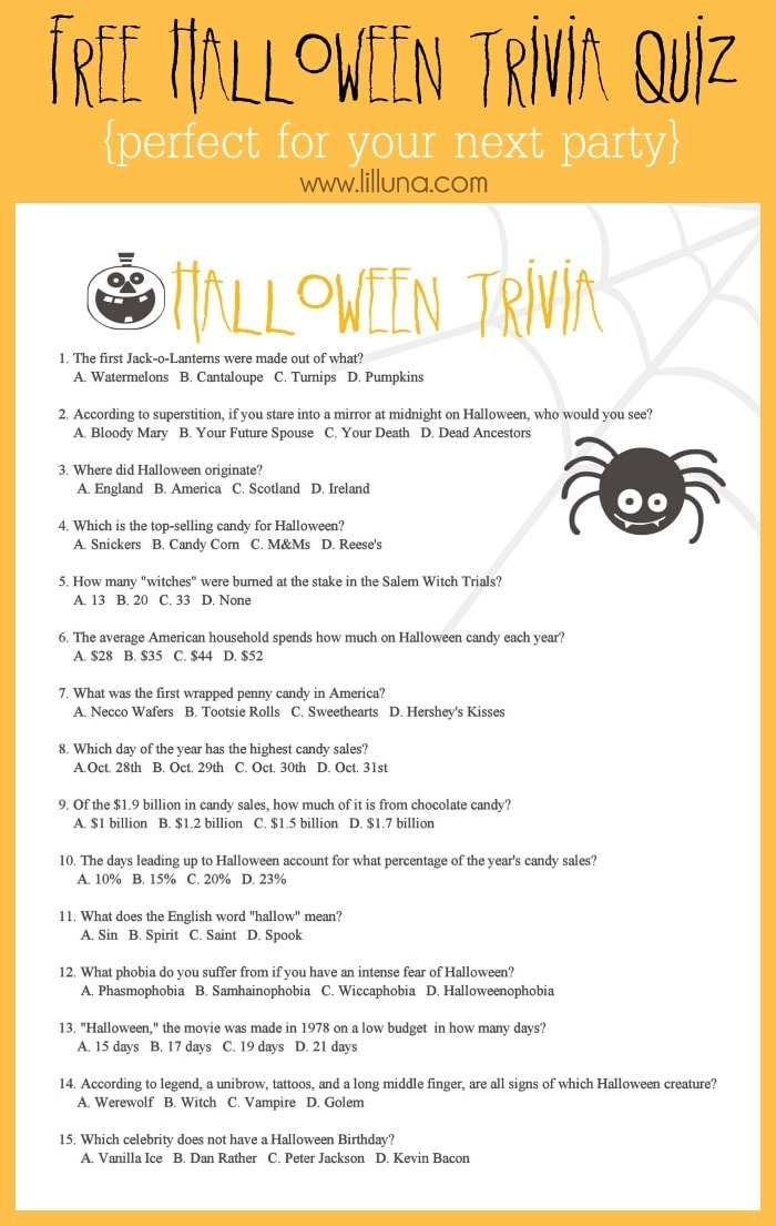 free halloween trivia quiz - Halloween Trivia With Answers