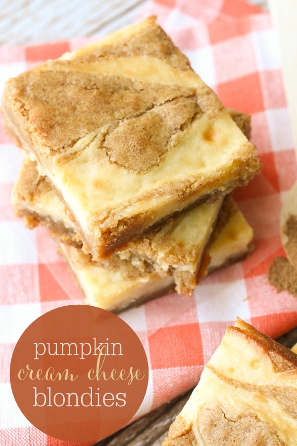 Pumpkin Spice Cream Cheese Blondies - a simple and delicious fall treat. A blondie brownie with a swirl of cream cheese and a hint of pumpkin.