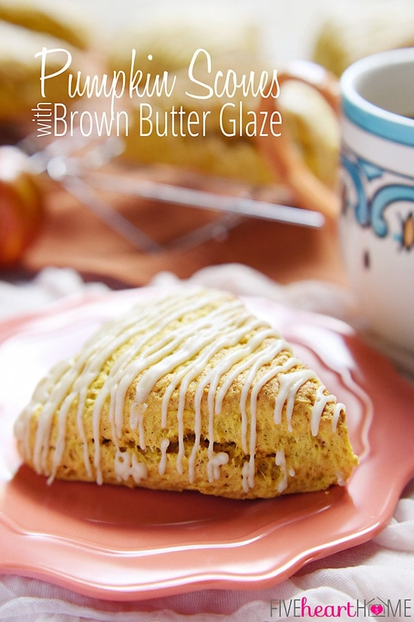 Tender, moist Pumpkin Scones with Brown Butter Glaze are simple to whip up and make the perfect fall treat!