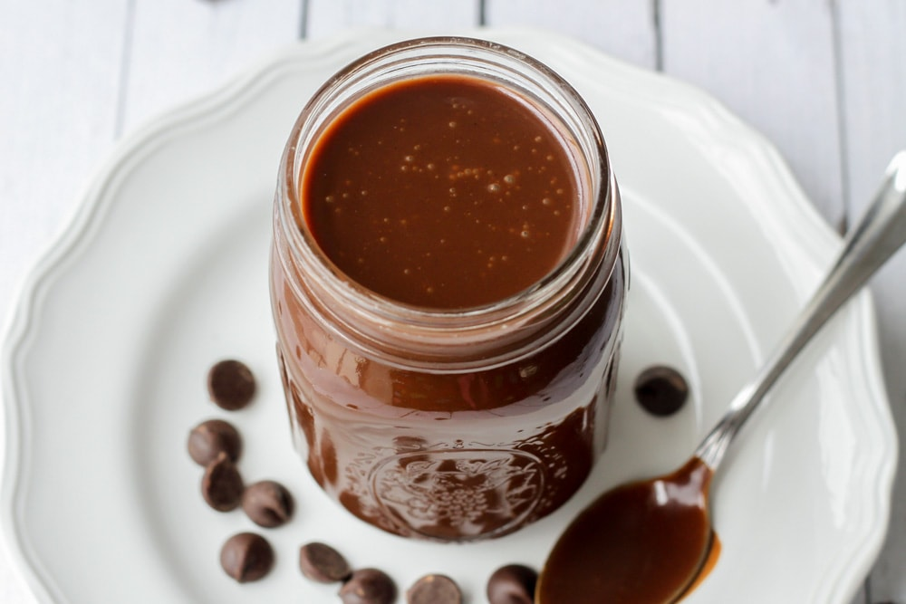 Hot fudge sauce in jar
