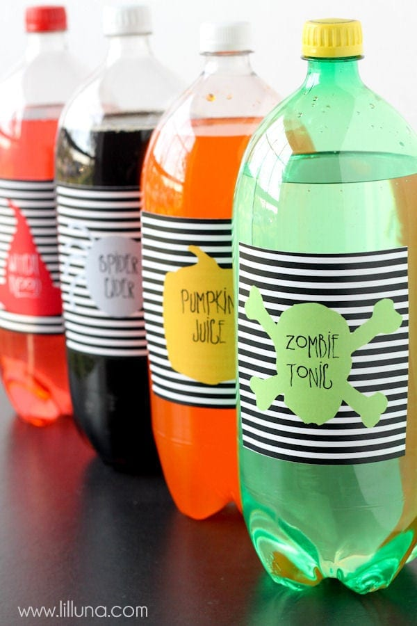 FREE Halloween Soda Pop Labels - download on { lilluna.com } A fun way to change your sodas for your next Halloween get together!