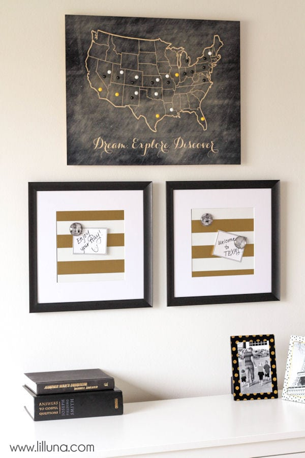 Good Guest Bedroom Update with magnet frames and Wood Travel Map lilluna