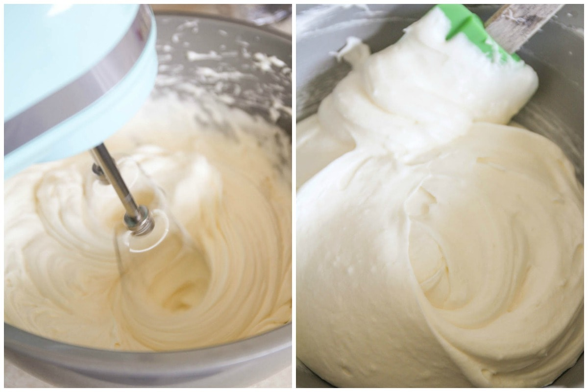 Process photos of beating and mixing cream cheese frosting