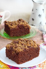 Chocolate Cake with Streusel Topping - recipe on { lilluna.com }
