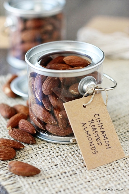Cinnamon Roasted Almonds recipe. Crunchy almonds dressed in olive oil, salt, and cinnamon!!