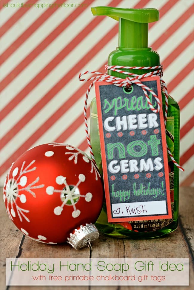 Cute Christmas Soap Gift with free printable tags - { lilluna.com } Love this inexpensive & cute idea!