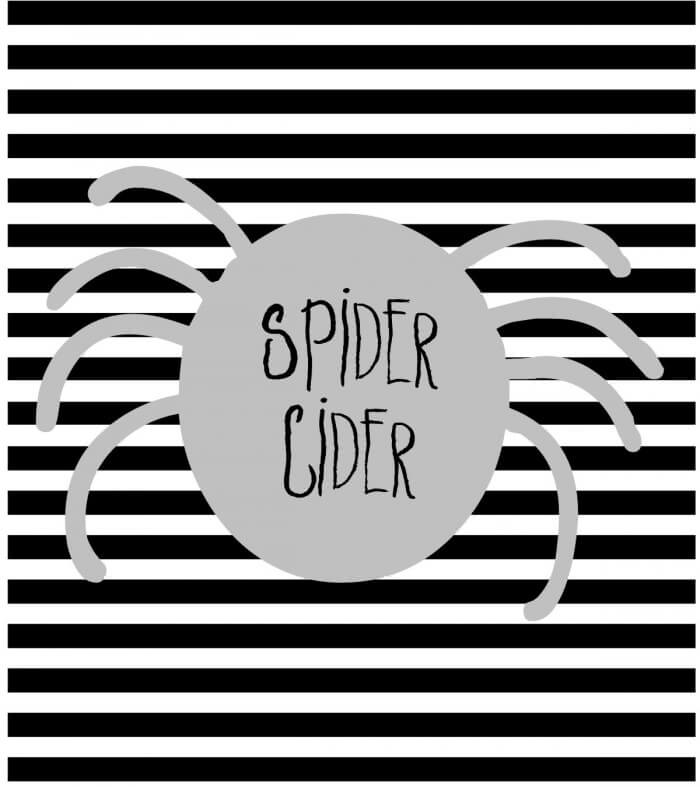 FREE Halloween Soda Pop Labels Spider Cider- download on { lilluna.com } A fun way to change your sodas for your next Halloween get together!