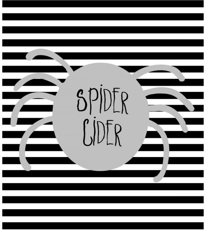 FREE Halloween Soda Pop Labels Spider Cider- download on { lilluna.com ... I Pigged Out For A Week