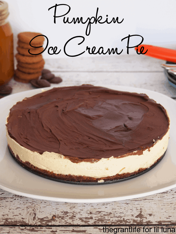 This Pumpkin Ice Cream Pie is loaded with pumpkin goodness and covered in chocolate! Recipe has pumpkin pie spice, pumpkin puree, pumpkin sauce, homemade cream, chocolate chips, and ginger snaps!!