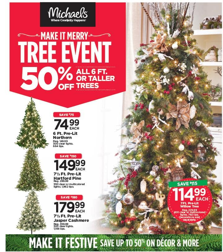 tree event creative - Michaels Hours Christmas Eve