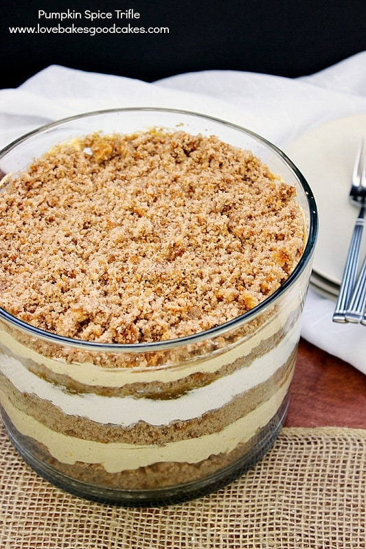 Pumpkin Trifle with spice cake in a trifle dish