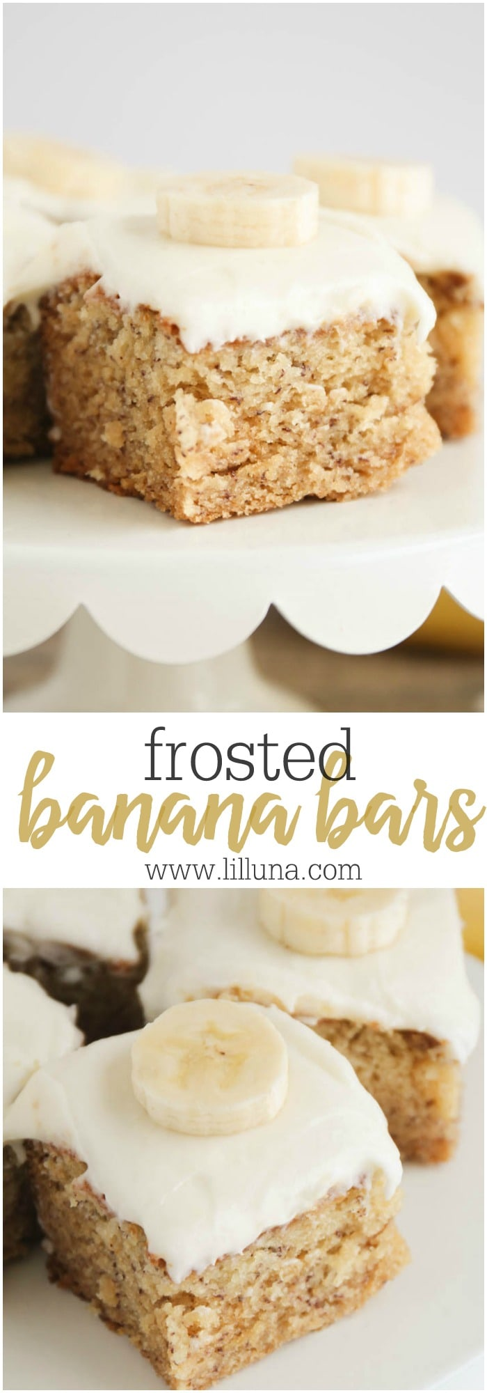 Collage of frosted banana bars with cream cheese frosting