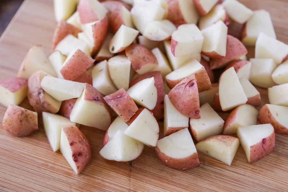 Cut up red potatoes