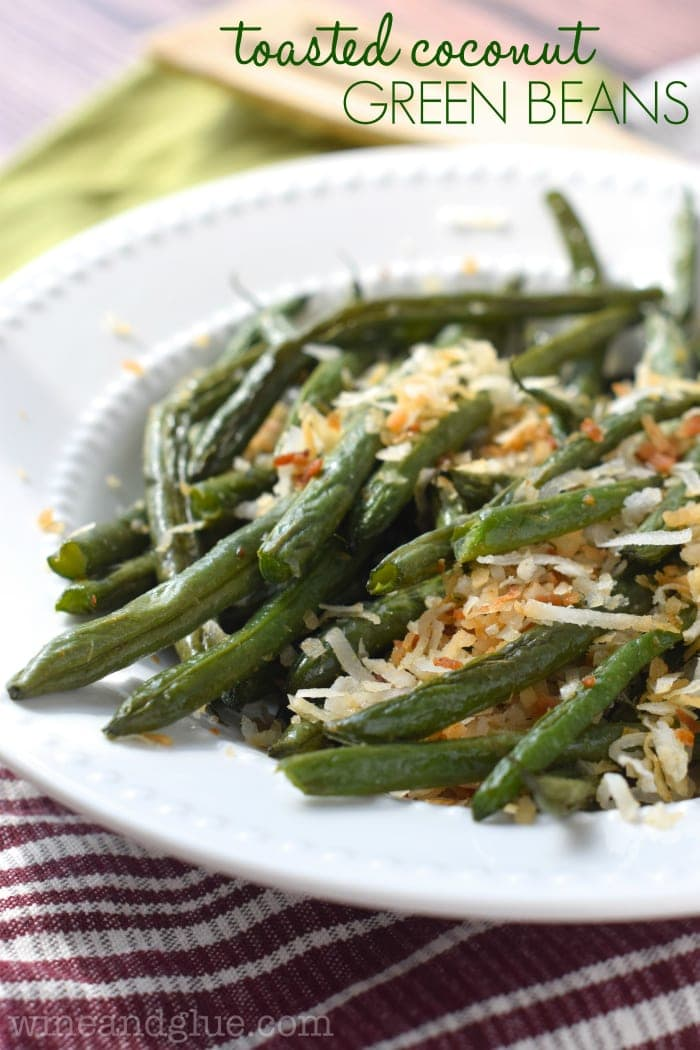 These Toasted Coconut Green Beans are such an easy and delicious side dish, the perfect mixture of sweet and savory!