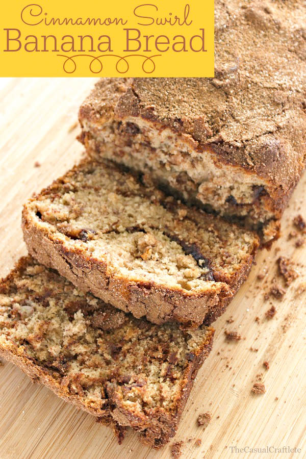 Cinnamon Swirl Banana Bread recipe. Moist bread full of bananas, cinnamon and a swirl of sugar, brown sugar, and more cinnamon!!