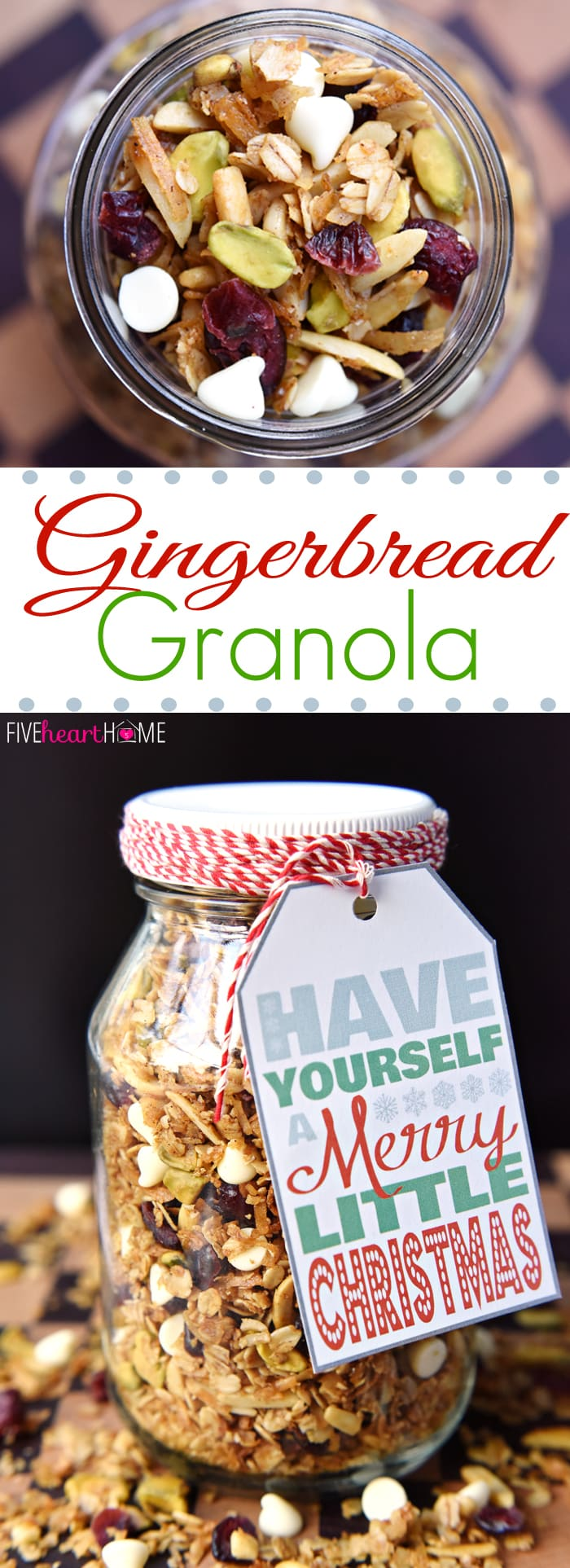 Gingerbread Granola with Dried Cranberries, Pistachios, and White Chocolate Chips | FiveHeartHome.com