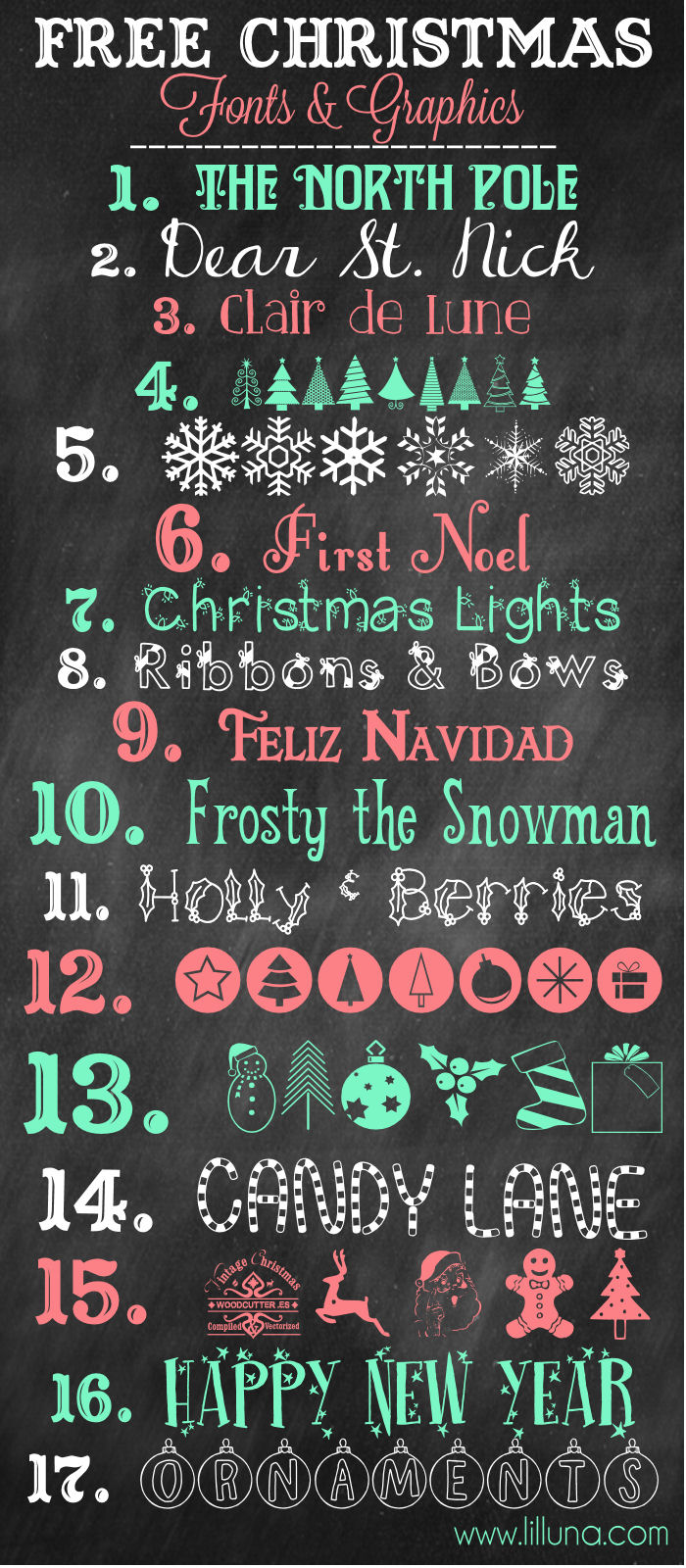 more favorite free christmas fonts and graphics to download and use lillunacom - Christmas Fonts Free