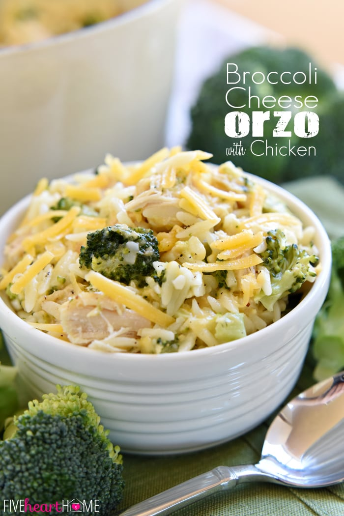 One-Pot Broccoli Cheese Orzo with Chicken (or leftover turkey) | FiveHeartHome.com