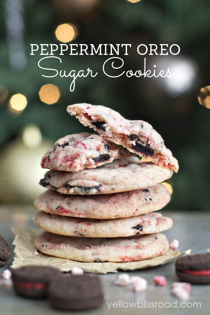 So delicious and festive Peppermint Oreo Sugar Cookies recipe { lilluna.com } A great treat for family, friends, and neighbors. Recipe includes your favorite sugar cookie mix, andes peppermint baking chips, and candy cane oreos!!