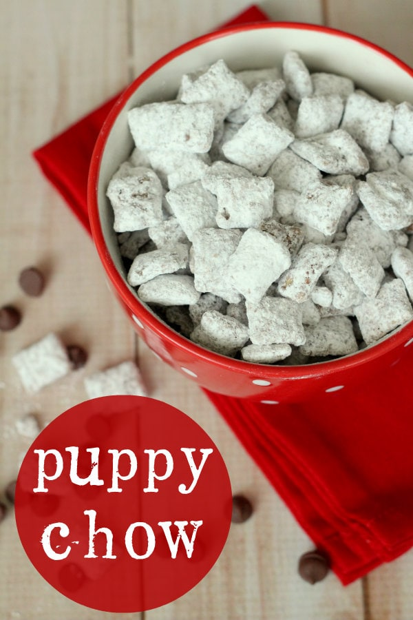 Puppy Chow Recipe { lilluna.com } Recipe includes chex cereal, chocolate chips, & peanut butter tossed in powdered sugar!