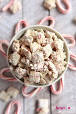 White Chocolate Peppermint Puppy Chow ~ made with Chex cereal and candy canes, this holiday snack mix is perfect for serving at parties or giving as a gift to neighbors and friends | FiveHeartHome.com for LilLuna.com