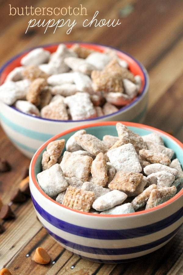 Delicious Butterscotch Puppy Chow { lilluna.com } The perfect little treat. The same recipe as puppy chow, but with a little less powdered sugar.