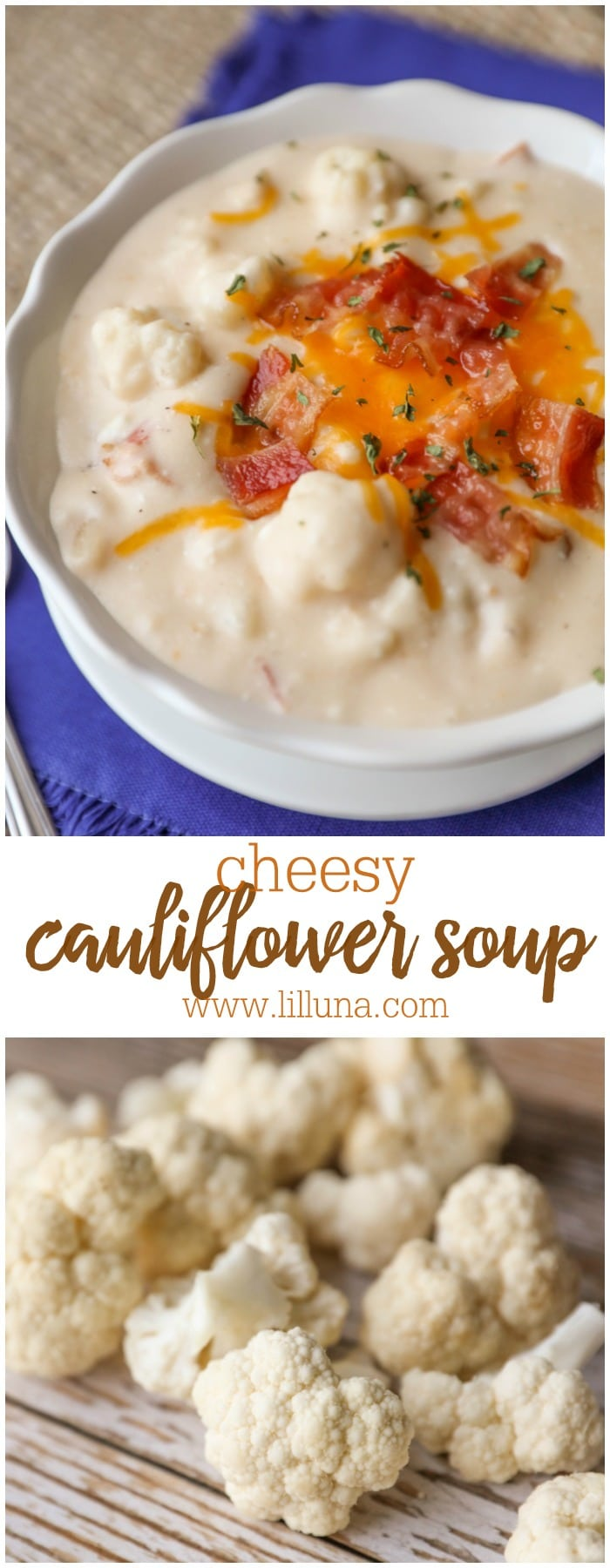 Cheesy and Delicious Cauliflower Soup. One of our favorite soup recipes to enjoy all year long!