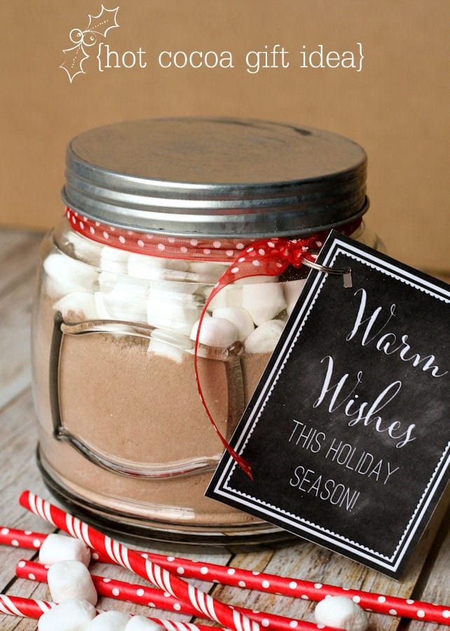 Super cute Hot Cocoa Gift idea with Homemade Hot Cocoa Recipe. PLUS, free tags on { lilluna.com }