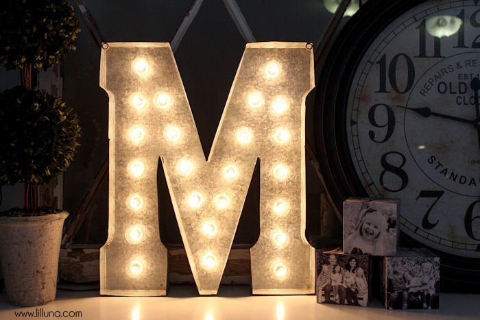 DIY Marquee Letter tutorial on { lilluna.com } LOVE this! You need your marquee letter, lights, and some basic tools to make this super cute decor piece!