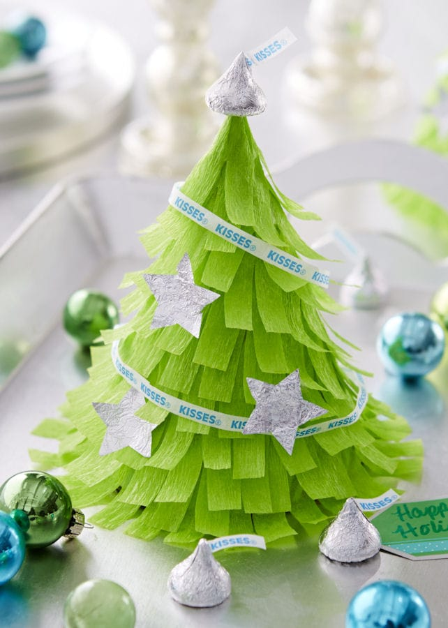 Mini Christmas Tree Pinatas - Cute!! { lilluna.com } Easy to make and the cutest little display!