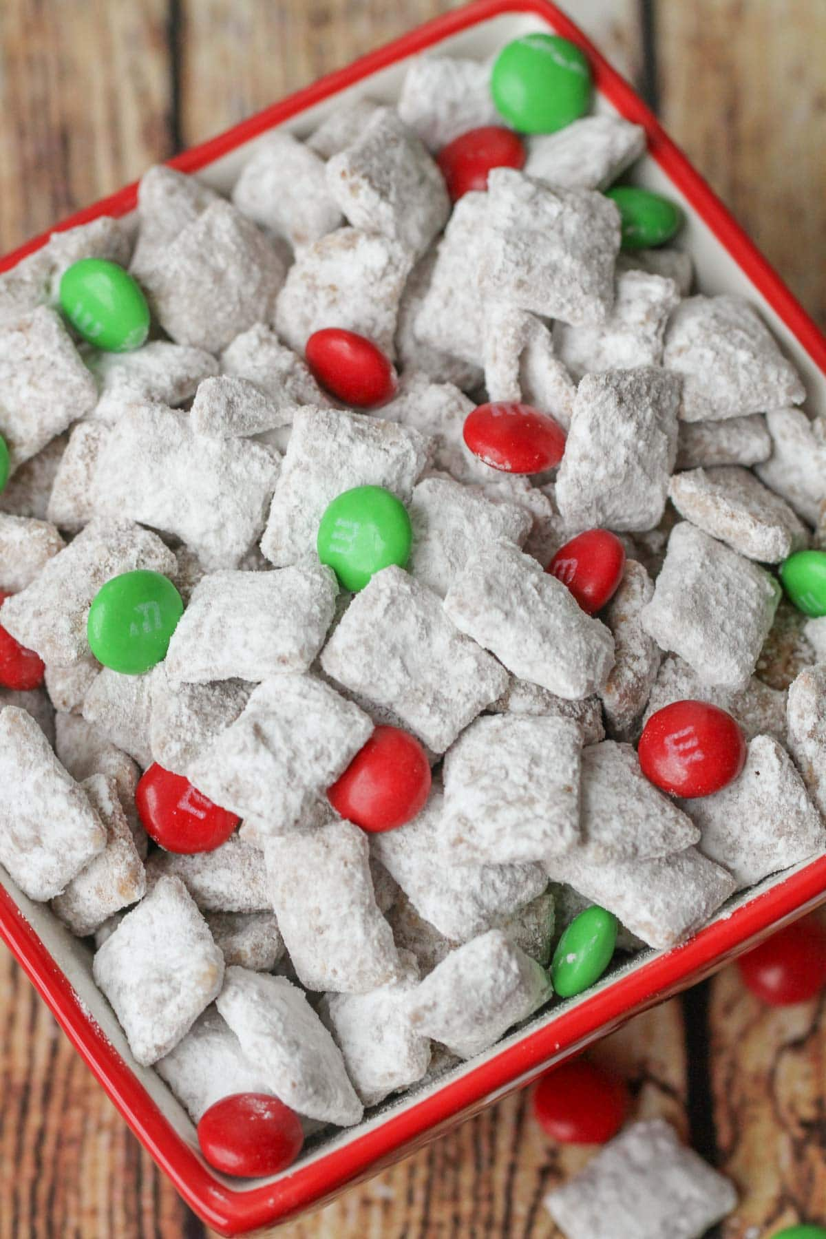 Christmas puppy Chow in a red bowl.