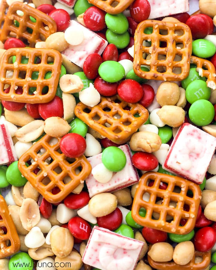 A pile of Christmas snack mix