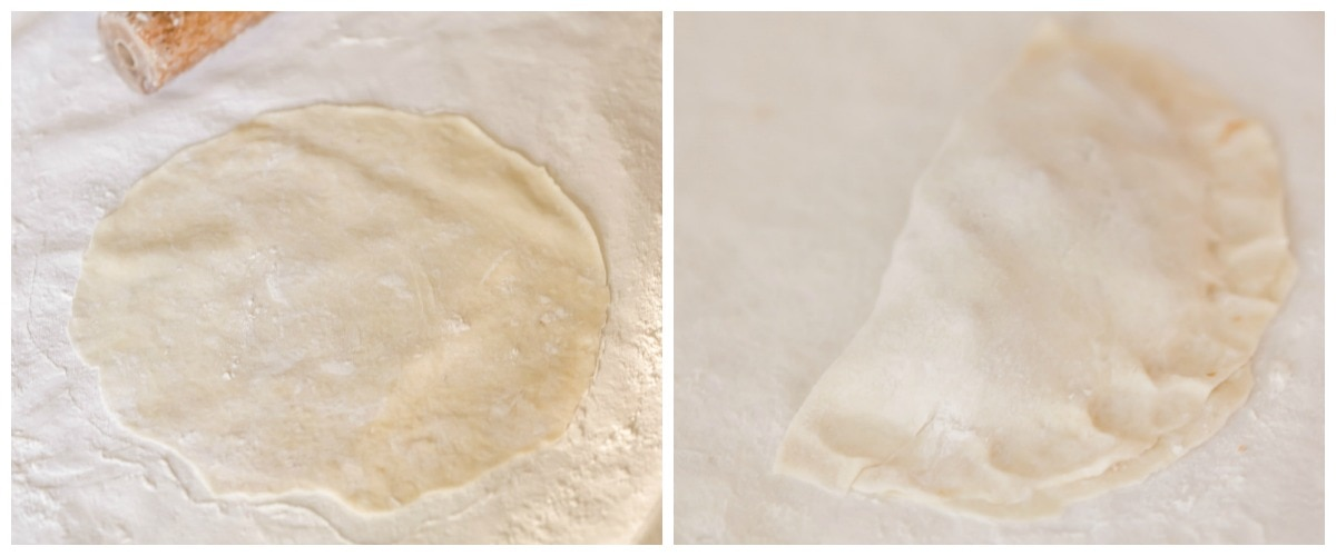 How to Make Empanadas - process shots of rolling and folding dough