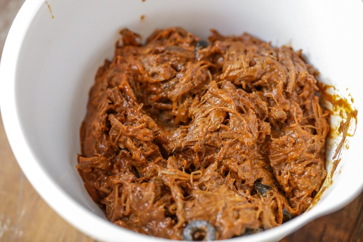 Beef Empanada Meat Filling in a bowl