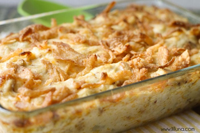 French onion chicken bake in a glass casserole dish