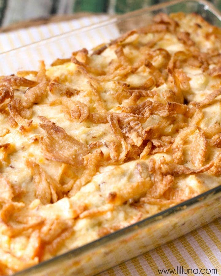 French Fried Onion Chicken Casserole in a glass baking dish