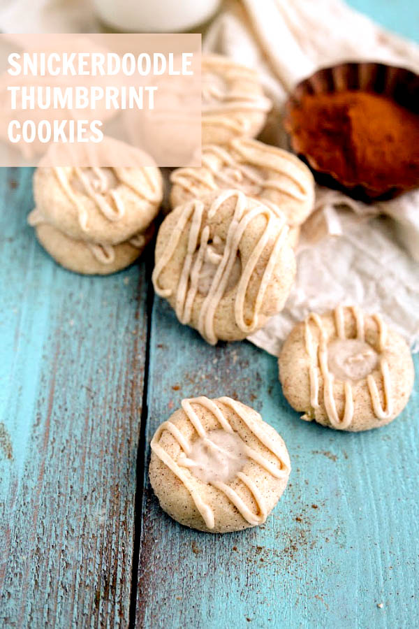 Simple and Delicious Snickerdoodle Thumbprint Cookies on { lilluna.com } A soft, cinnamon cookie filled with a frosting made with heavy cream, cinnamon, butter, vanilla, & powdered sugar.