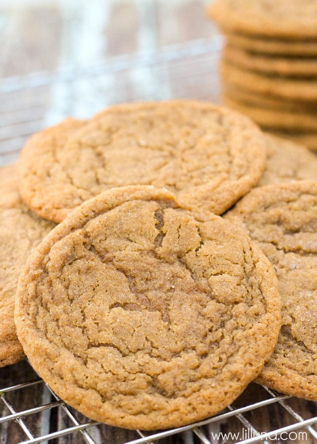 Super soft and chewy Gingersnap Cookies { lilluna.com } Nutmeg, molasses, ginger, cloves, cinnamon, and applesauce make these cookies so tasty!!