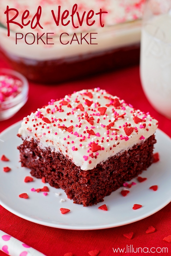 Delicious Red Velvet Poke Cake with homemade Cream Cheese Frosting { lilluna.com } Super moist and velvety and perfect for Valentine's dessert!