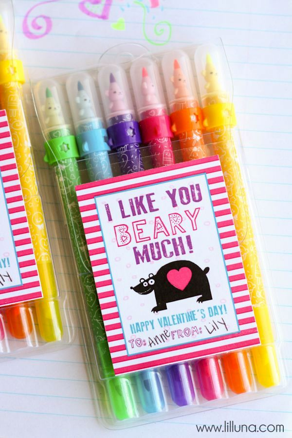 Art Supplies Valentines with free prints on { lilluna.com } A cute and fun Valentine that kids will love!