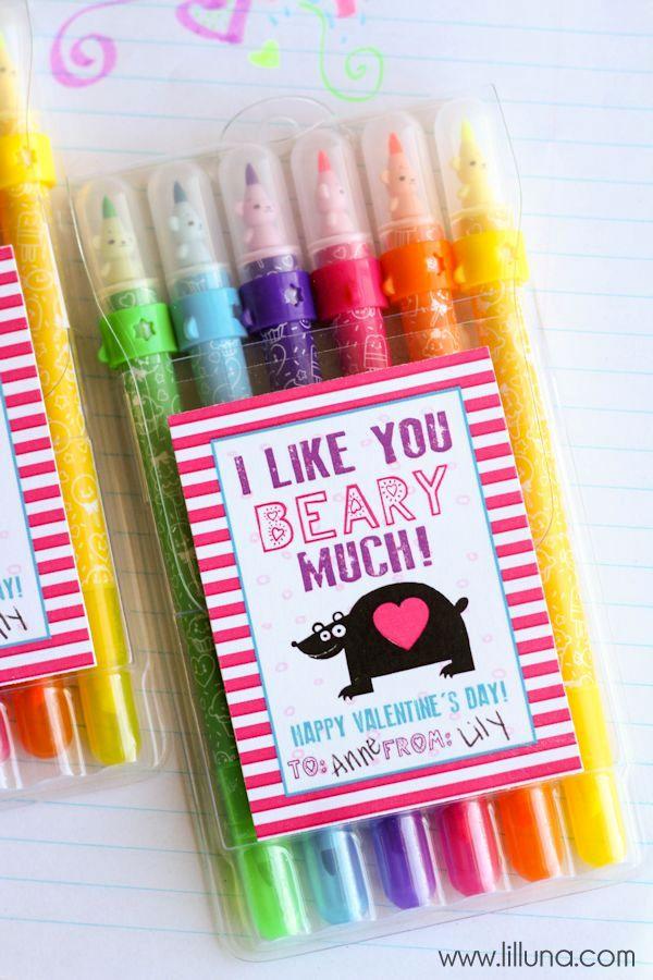 Art Supplies Valentines with free prints on { lilluna.com } A cute and fun Valentine that kids will love!