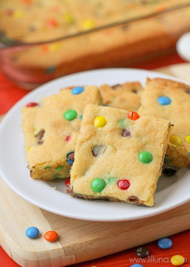 M And M Cookie Bars With Cake Mix