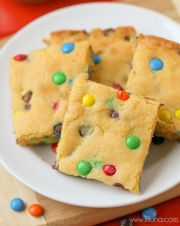 plate of cake mix cookies bars