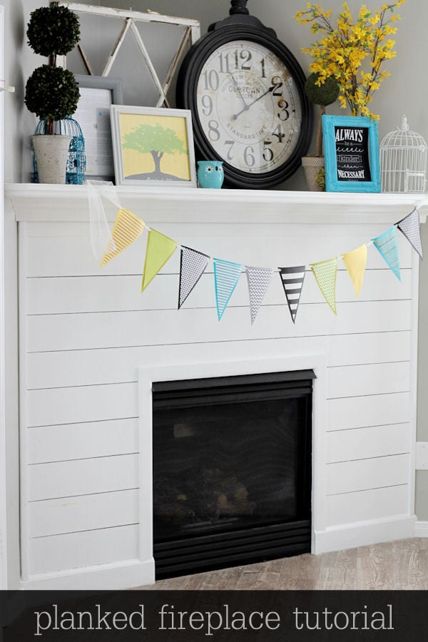 Beautiful Planked Fireplace Tutorial { lilluna.com } Great way to add beauty to your fireplace!